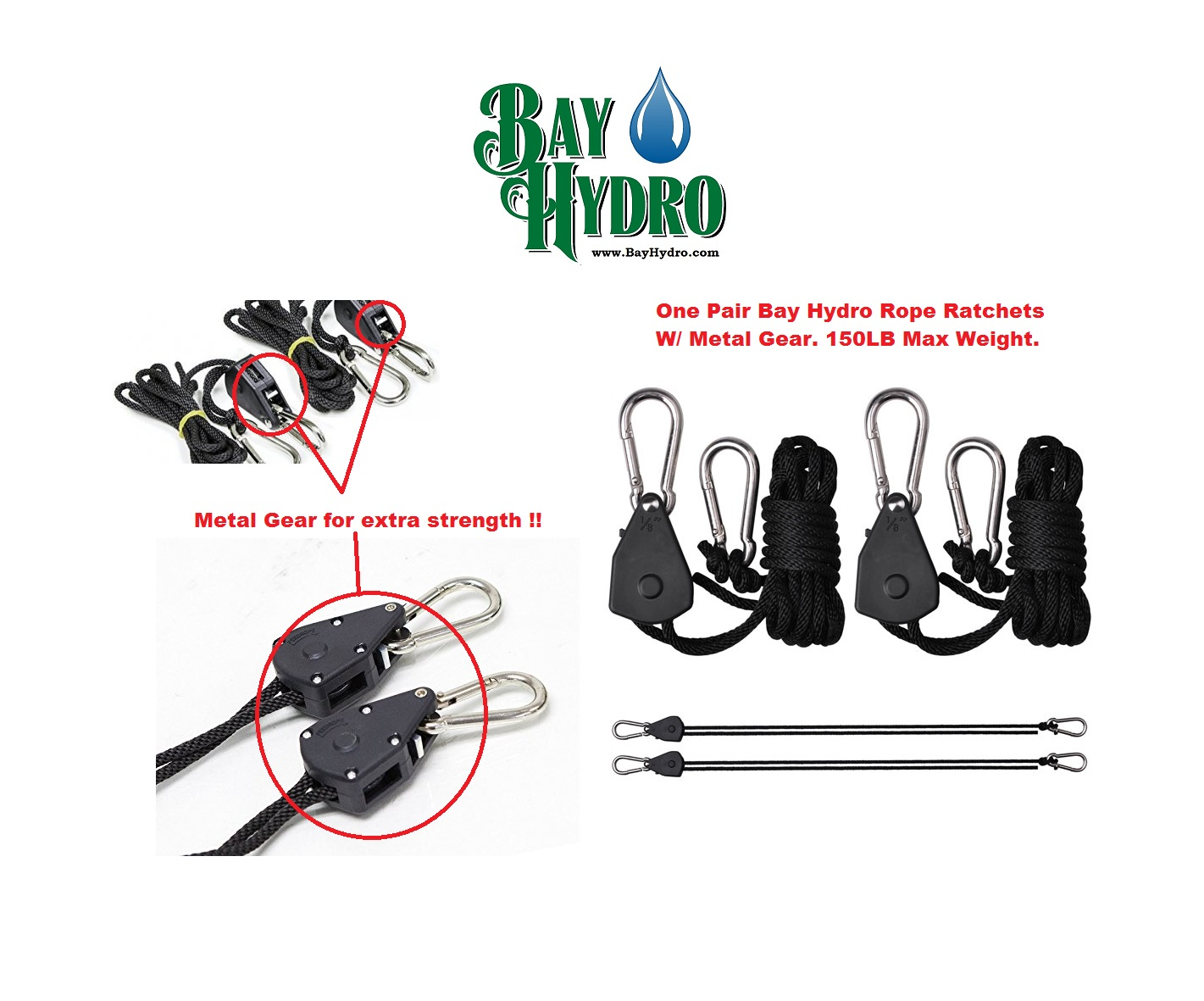 Bay Hydro Rope Ratchets W/ Metal Gears