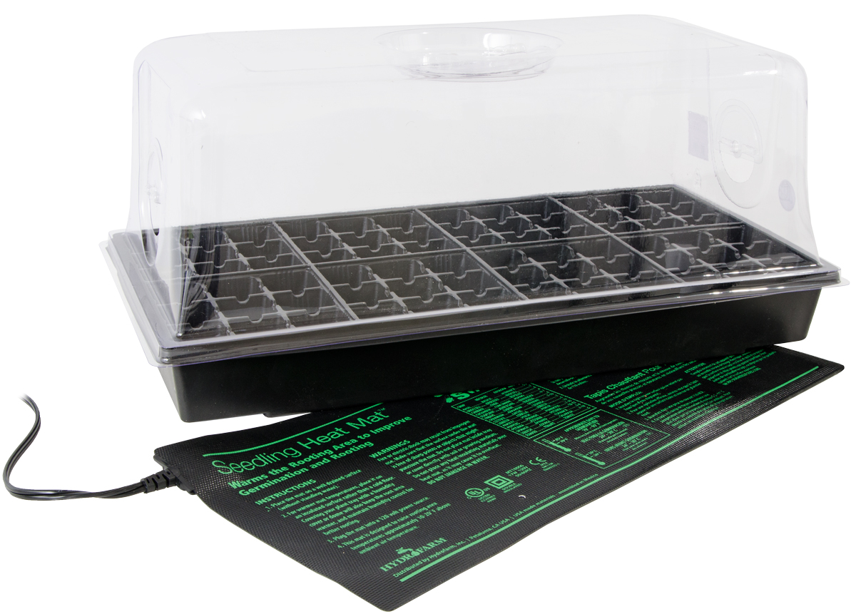 Jump Start Hot House W/ Heat Mat Tray 72-Cell Insert 7.5 Inch dome