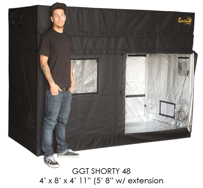 Gorilla SHORTY Grow Tent - 4 X 8 Foot - W/ 9 Extension Kit