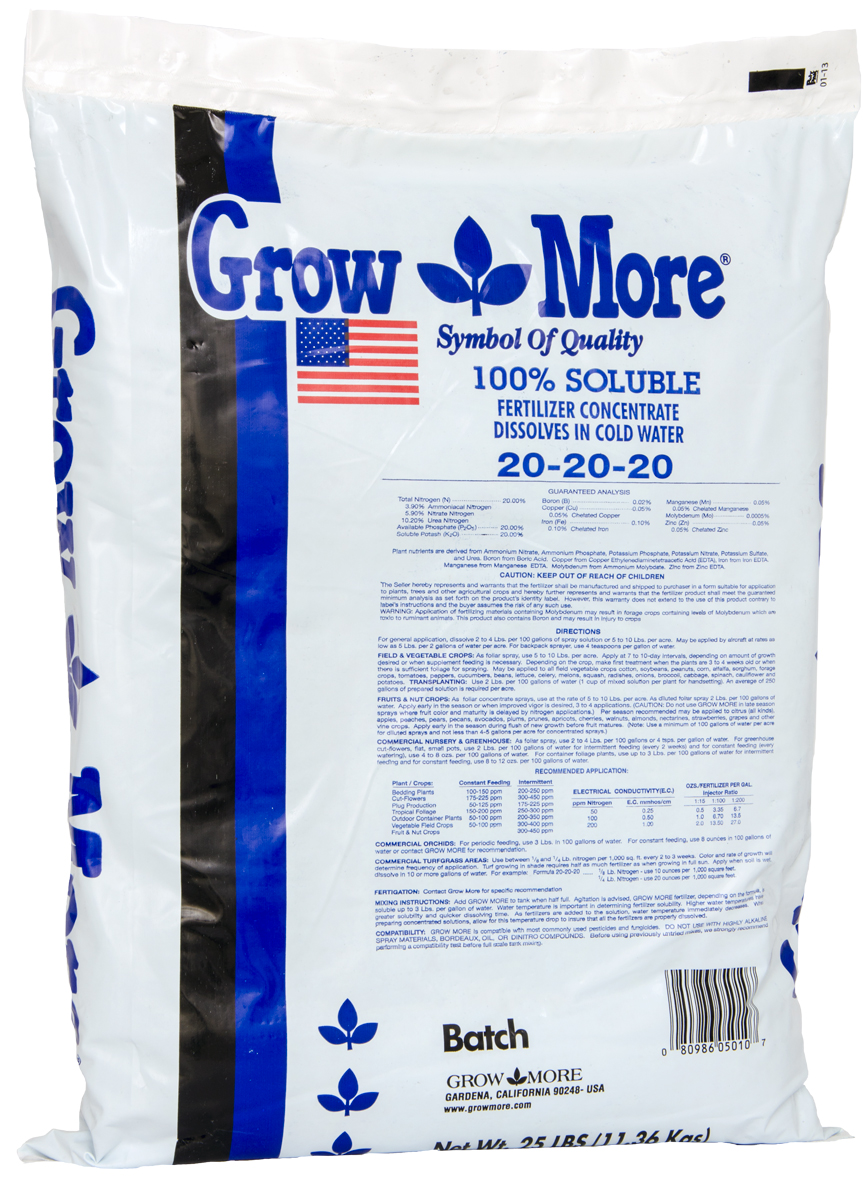 Grow More® General Purpose 20 - 20 - 20 / 25 LBS