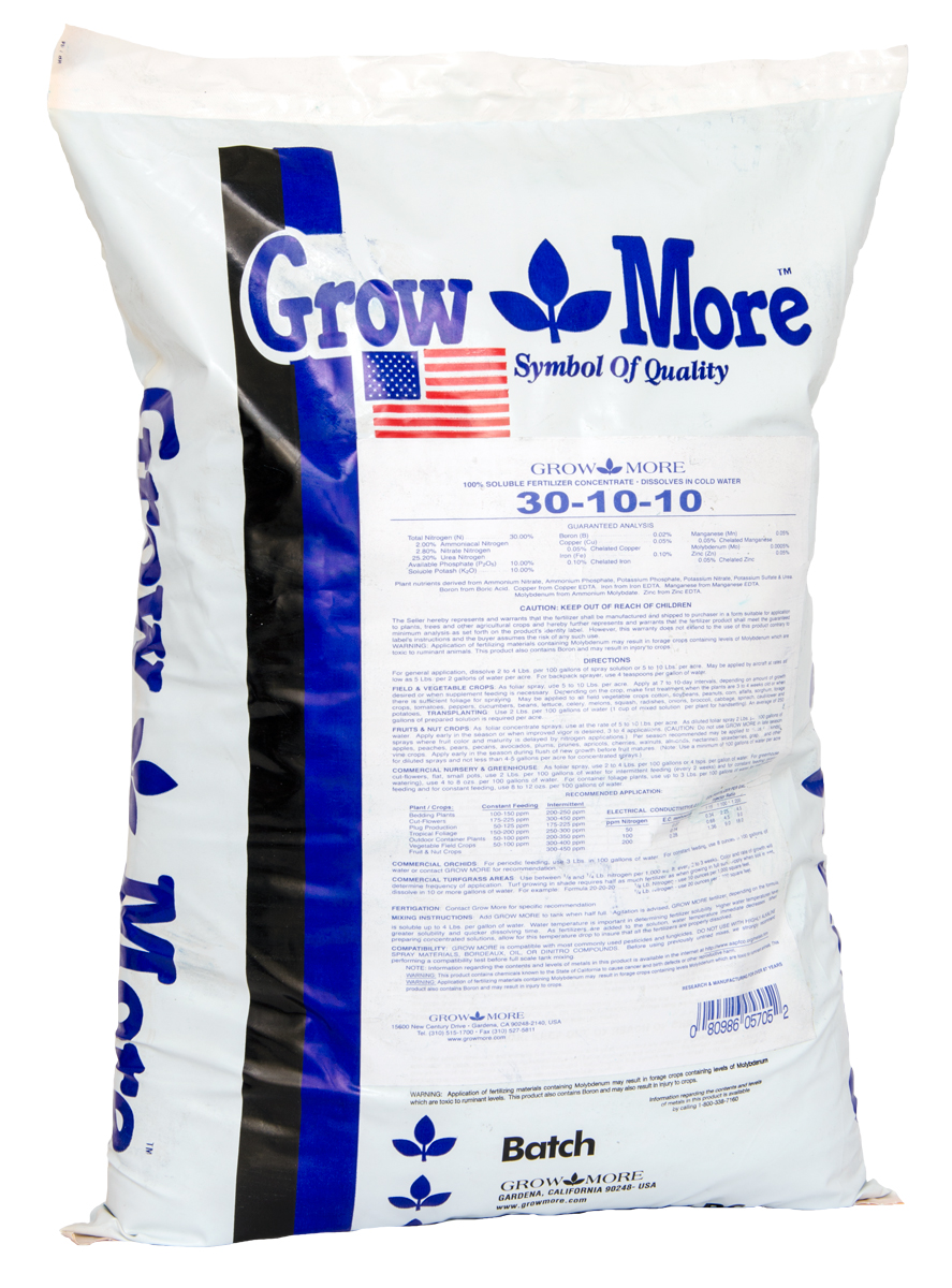 Grow More® Foliage Developer 30 - 10 - 10 / 25 LBS