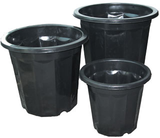 HydroFarm Black Plastic Pot 3 Quart Pack of 75