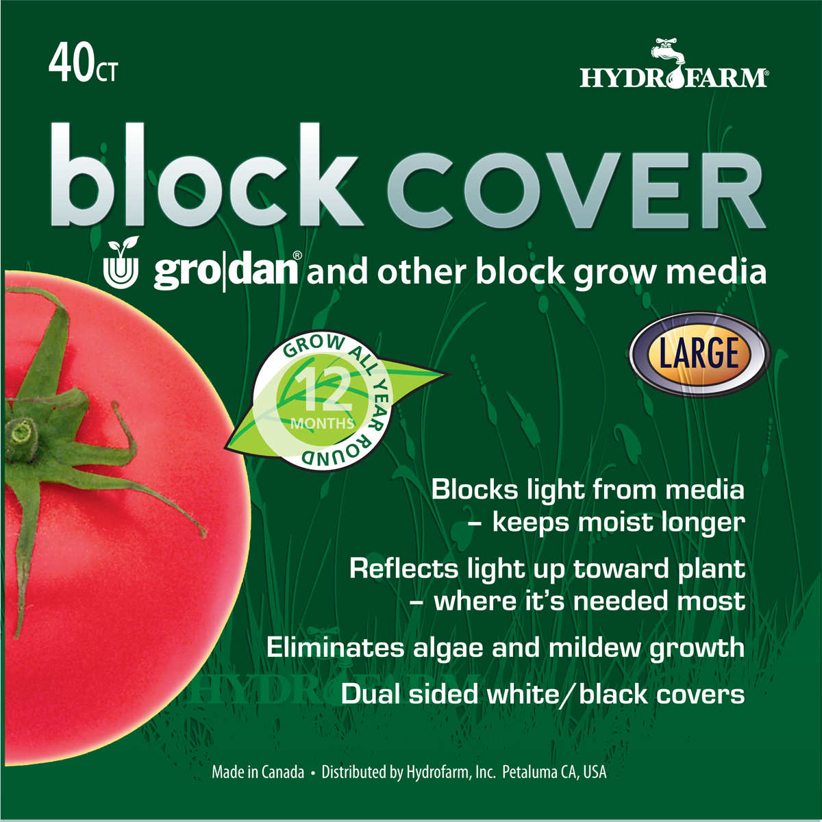 HydroFarm Rockwool Block Cover 8 Inch Pack of 40