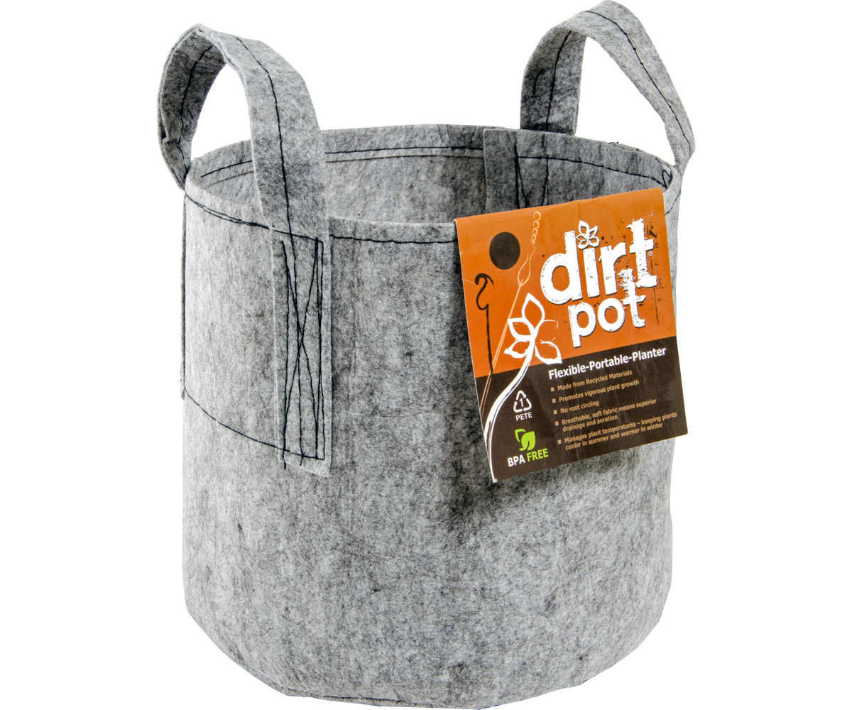 Dirt Pot Flexible Portable Planter - Grey - 5 Gallon - W/ HANDLES