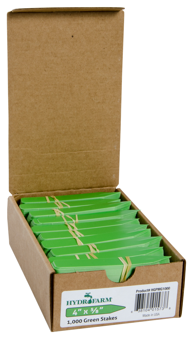 Hydrofarm Plant Stake Labels - Green - 4 x 5/8 - Case of 1000
