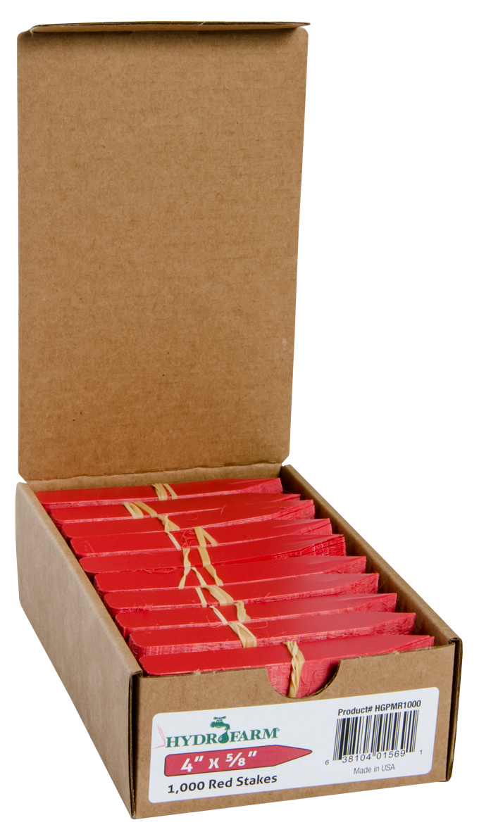 Hydrofarm Plant Stake Labels - Red - 4 x 5/8 - Case of 1000
