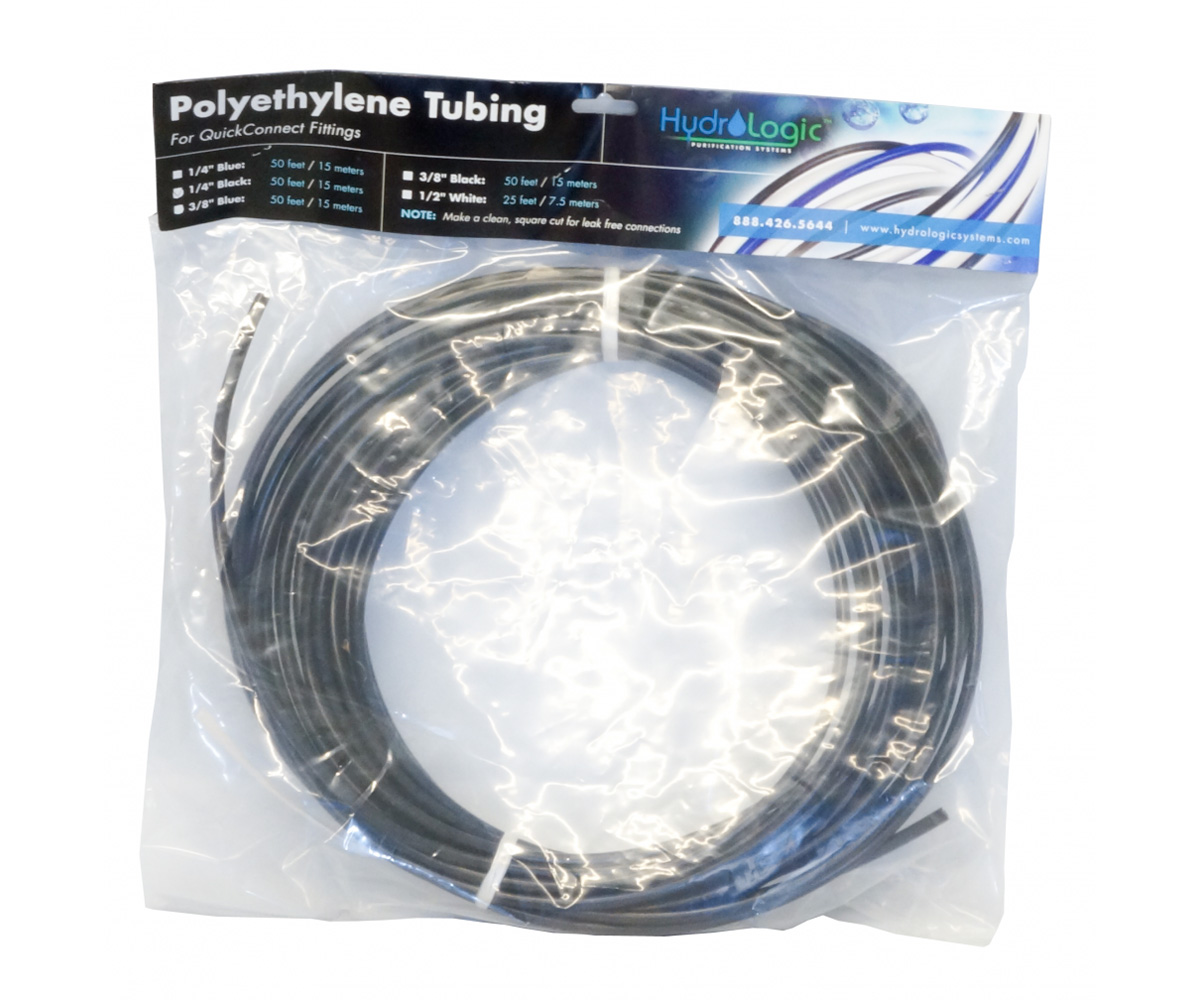 Hydro-Logic Polyethylene Tubing 50 Foot Black 3/8 Inch