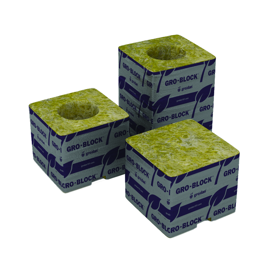 Grodan Delta 4 Block - 3 x 3 x 2.5 - - NO HOLE - 384 PER CASE