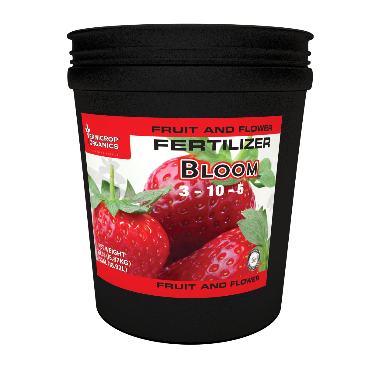 Vermicrop Bloom 3-10-5 Fruit and Flower Fertilizer, 35 LBS (in 5 Gallon pail)